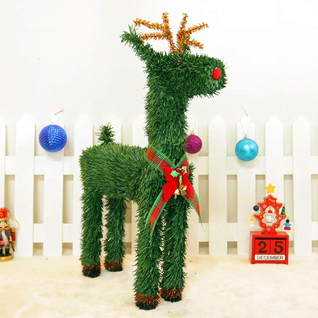 連合ケーブルカー報奨金クリスマス トナカイの置物 デコレーション 可愛い リボン 花 飾り付け Christmas となかい 飾り オーナメント オブジェ プレゼント 置物 ママとベビー 35cm 45cm ディズプレイ  (35cm)