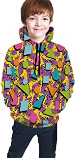 Cyloten Kid's Sweatshirt Geometric 80s Memphis Hoodie Teen's Thicken Sportswear Fleece Hood for Fall-Winter