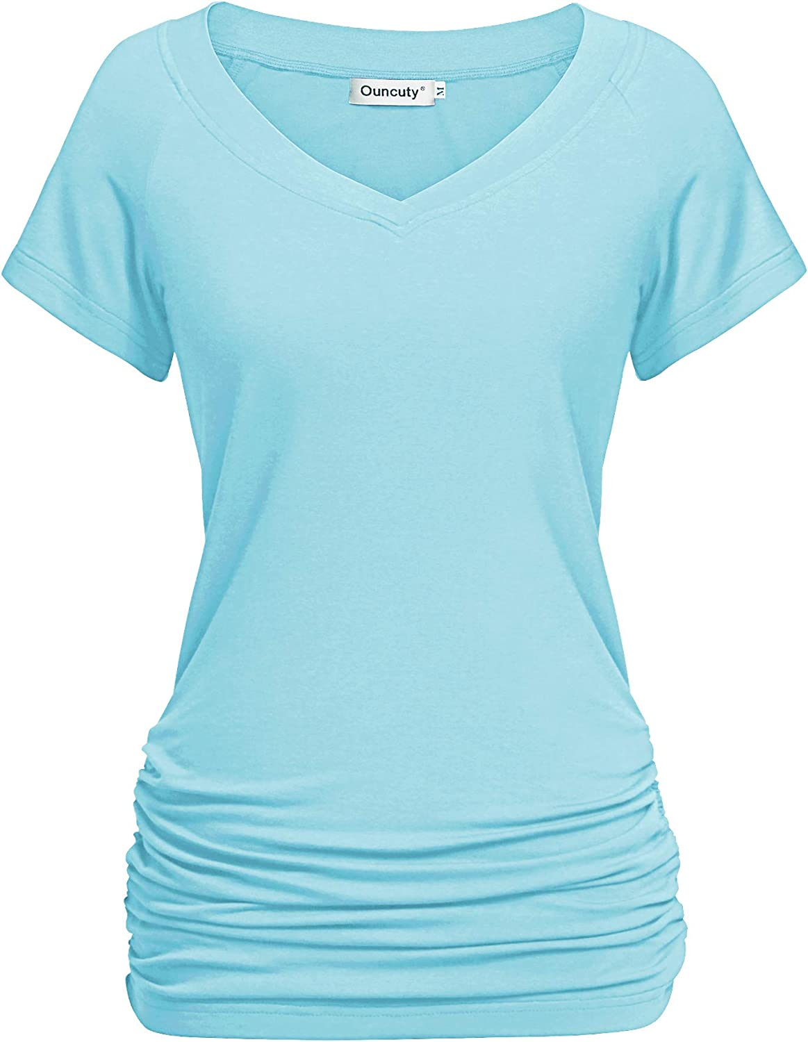 Ouncuty Womens Summer V Neck Short Sleeve Ruched Side Tunic Shirts Loose Fit Top
