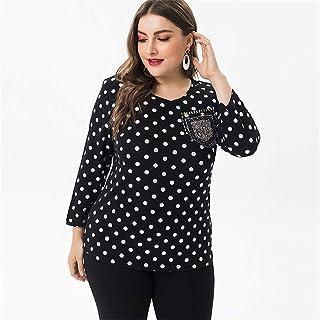 Women's T Shirt,Women's Dot Pattern T Shirt Women's Plus Size Round Neck Shirt Casual And Comfortable Women's Tops