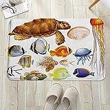 Alfombra de baño, Alfombrilla de baño de microfibra,Acuario, diferentes tipos de animales marinos Tortuga Medusas y peces, antideslizante, absorbente, lavable, para cuarto de baño, salón (60 x 100 cm)