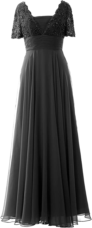Edwardian Evening Gowns , Ballgowns, Formal Dresses MACloth Women Long Mother of Bride Dress Short Sleeves Lace Evening Gown $129.00 AT vintagedancer.com