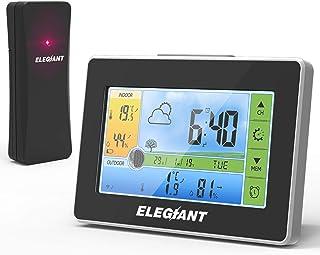ELEGIANT trådlös väderstation, digital termometer hygrometer inomhus utomhus temperatur luftfuktighet med stor LCD-skärm, ...