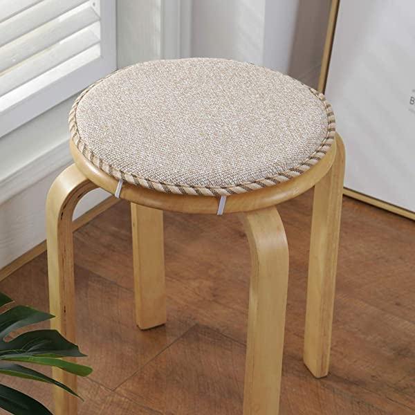 Seat Cushion Round Chair Pads Linen Not Slip Soft Multiple Pattern With Ties For Kitchen Office Bar Stool Chair Cushion N Diameter30cm 12inch