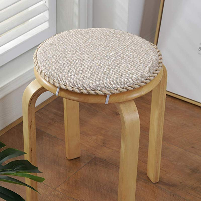 Solid Barstool Cushion Cotton Round Chair Pad With Ties Nonslip Breathable Chair Cushions For Dining Chairs Beige 45x45cm 18x18inch