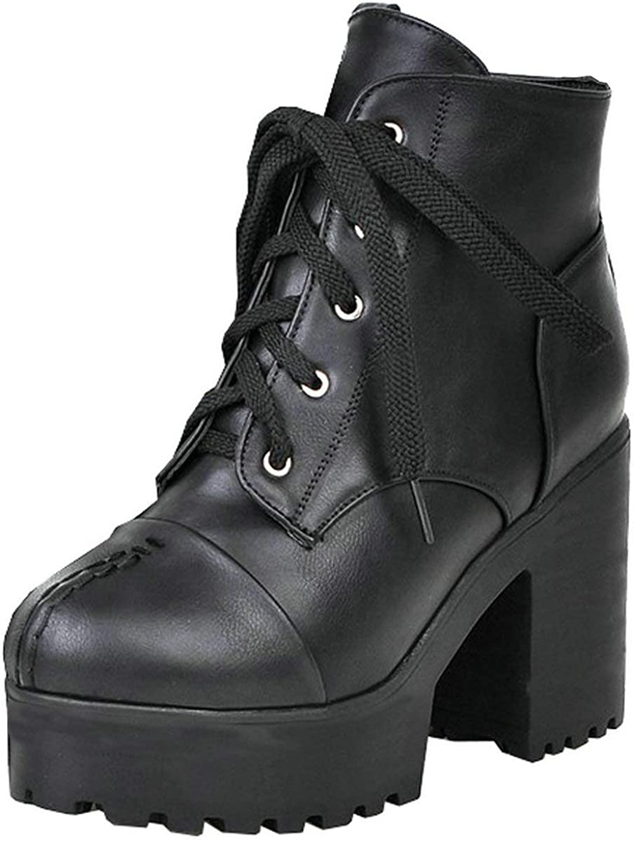 MAVMAX Women's Platform Ranking integrated 1st place Manufacturer OFFicial shop Gothic Ankle Boots up Lace Chunky H High