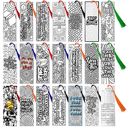 DIY Inspirational Bookmarks for Kids, Adults, Teachers, Students Bulk 100-Pieces Individually Wrapped with Tassel