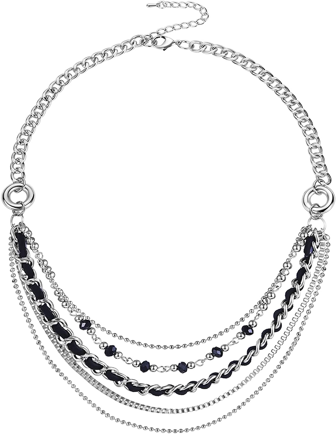 Layered Silver Chain Necklace Special Max 60% OFF Campaign for Punk Women Statement