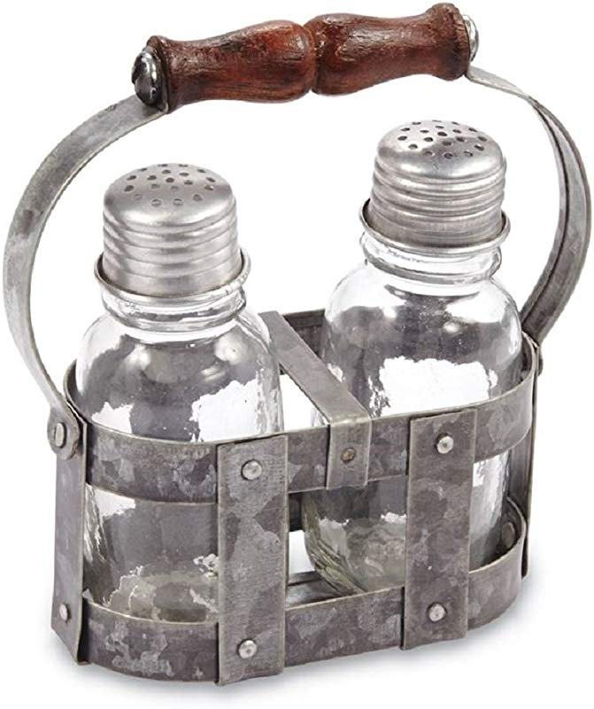 Tin Strapping Salt Pepper Caddy Set