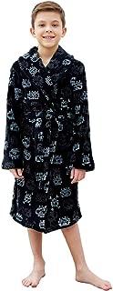 Boys Plush Fleece Robe Shawl Skull and Hooded Spacecraft Printed Soft Kids Bath Robe for Boy