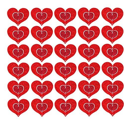 YepYes Corazón Colgante de Techo Decoración del corazón Decoración Colgante con Las Cintas para el día de San Valentín del Aniversario del Contrato 100PCS