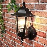 Außenlampe Wandleuchte PARIS Schwarz stehend IP44 E27 rustikale Außenleuchte Hof Garten Balkon Tür