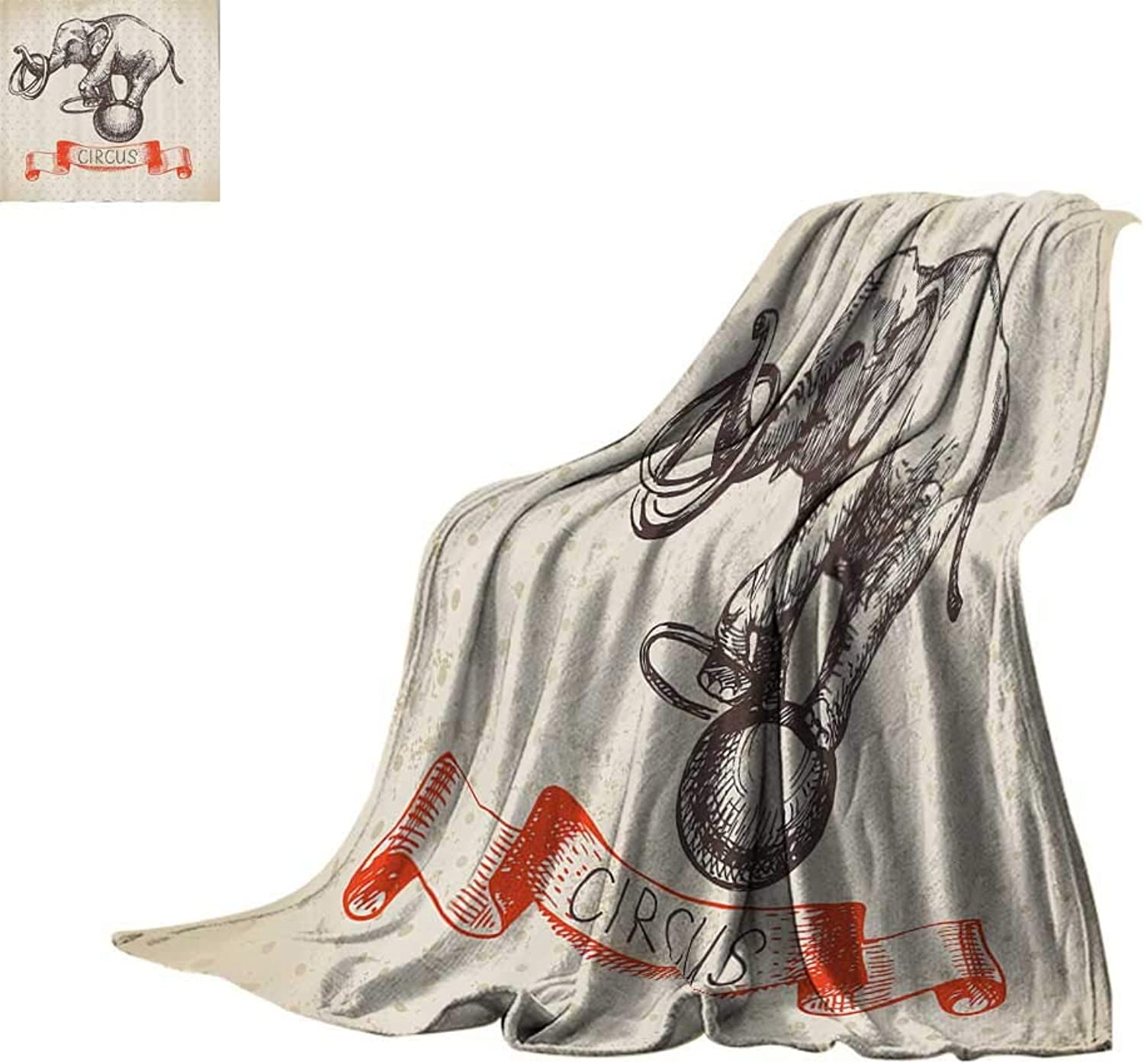 Cozy Flannel Blanket Vintage Decor Collection,Hand Drawn Dancing Elephant Circus Vintage Background Wizard Miracle Wonder Animal Humor,Ecru Red Print Summer Quilt Comforter Bed or Couch 60 x35