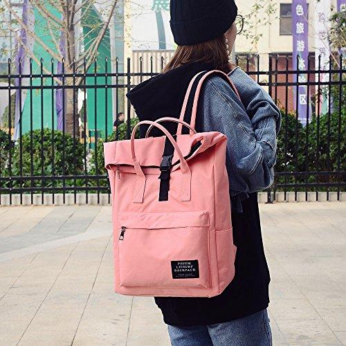 ALIKEEY mode dames pure kleur Nlyon schoudertas schooltas Satchel Tote rugzak roze