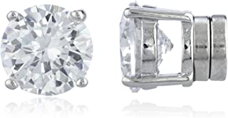 New & Improved! Silvertone with Clear Cz Round Magnetic Stud Earrings – 4mm to..