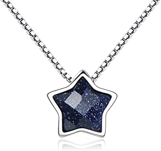 SILBERTALE 925 Sterling Silver Star Pendant Necklace 11mm Blue Sandstone Star Clavicle Necklace 18 Inch Valentine Gift for Women Teen Girls