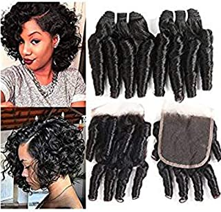 Molefi Brazilian Funmi Hair Curly Weave 4 Bundles with Lace Closure Spiral Curl Hair Bundles with 4x4 Closure 100% Human Hair Extensions 50g/pc Natural Black (8 8 8 8 +8)
