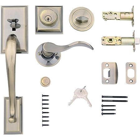 Amazon Basics Modern Exterior Door Handle with Left-Hand Wave Door Lever and Deadbolt Lock Set, Antique Brass