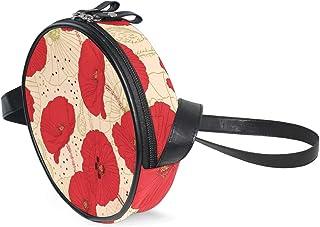 Coosun runde Umhängetasche mit Mohnblumen-Muster, Schultertasche für Kinder und Damen