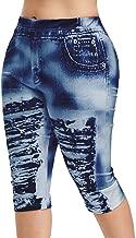 UOFOCO Fashion High Waist Yoga Pants Women Plus Size 3D Ripped Imitation Jean Print Legging