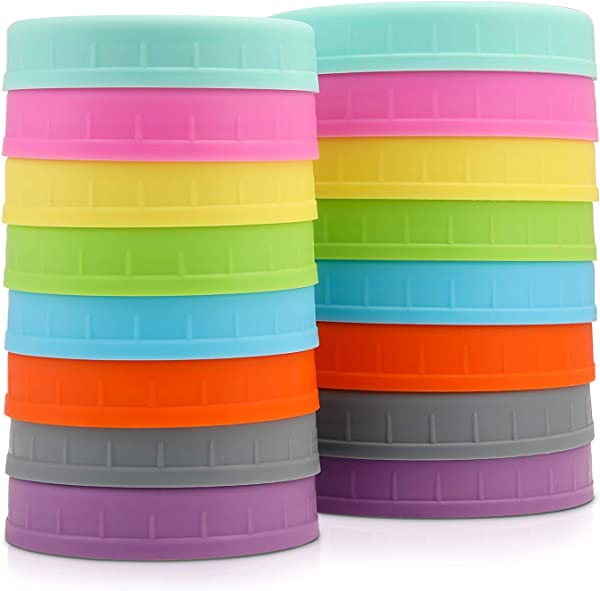 Aozita 16 Pack Colored Plastic Mason Jar Lids Fits Ball Kerr More 8 Wide Mouth 8 Regular Mouth With Silicone Rings Food Grade Storage Caps For Canning Jars Anti Scratch Resistant Surface