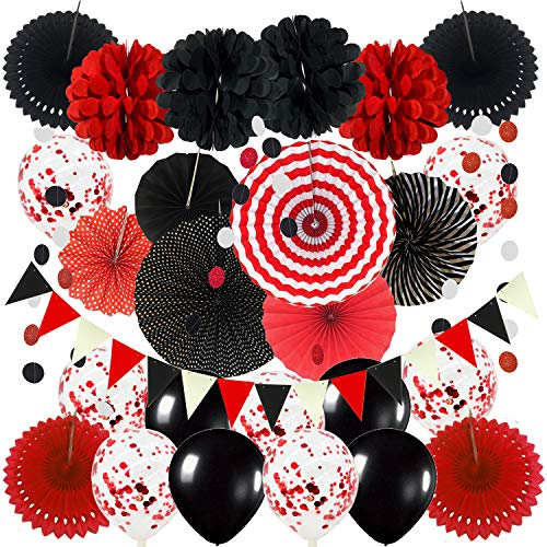 ZERODECO Party Decoration, Hanging Paper Fans Pom Poms Flowers Garlands String Polka Dot and Triangle Bunting Flags Easy to Assemble - Black and Red