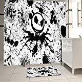 Jack Skellington Shower Curtain Set with Bathroom Rug Pack of 2 Nightmare Before Christmas Jack 100% Microfiber Polyester with 12 Hooks, Skull Bathroom Decor Set Waterproof Washable 65x72Inch