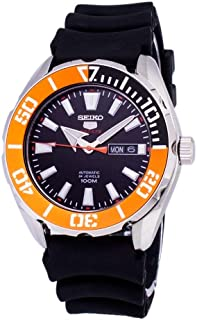 5 Sports SRPC59 Men's Rubber Band Orange Bezel 100M Automatic Dive Watch
