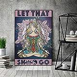 Yoga Poster, Meditation Girl Poster, Let That Sh Go Poster,