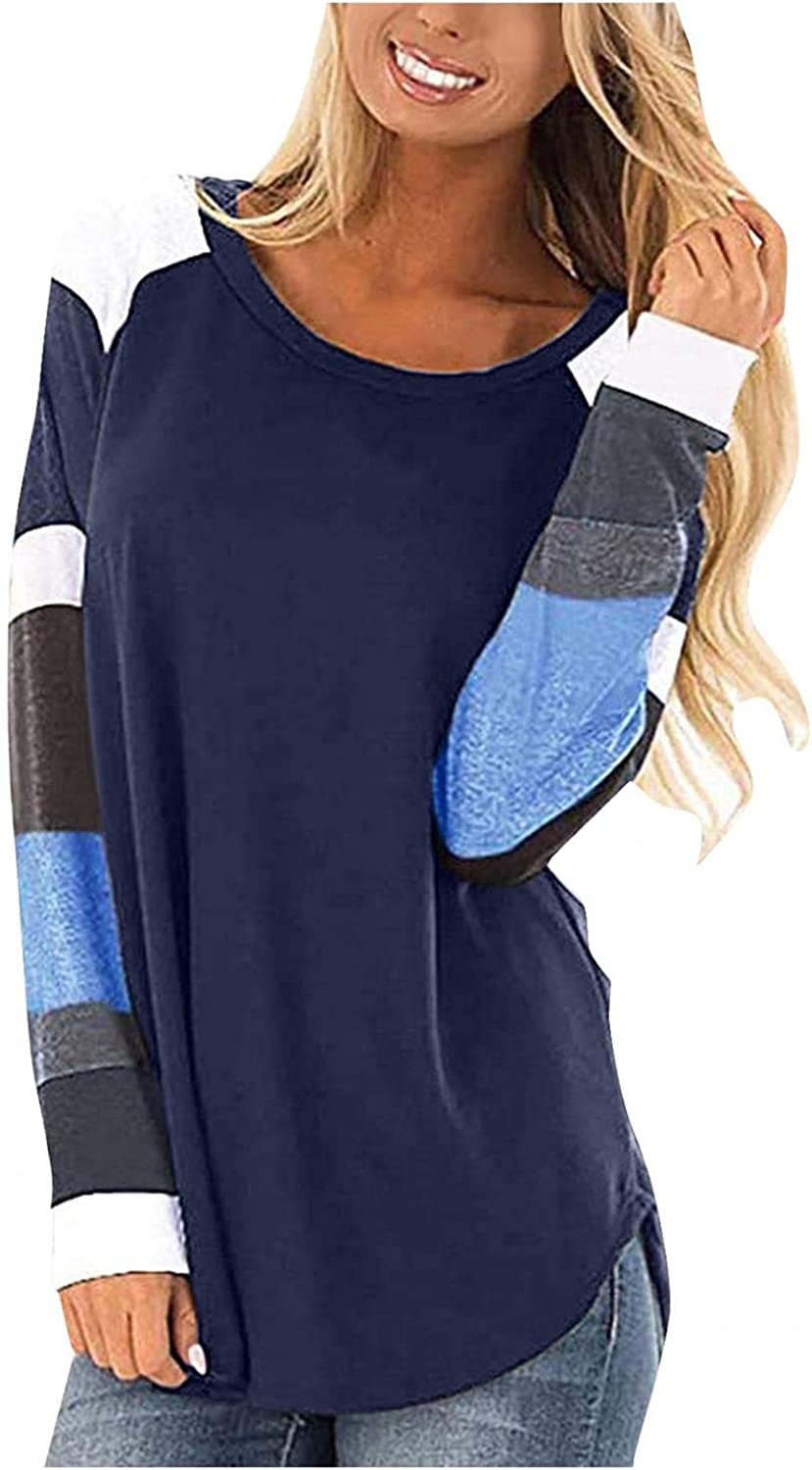 felwors Long Sleeve Shirts for Women, Women Long Sleeve T Shirts Tops Casual Twist Knot Color Block Tunic Blouse Tee