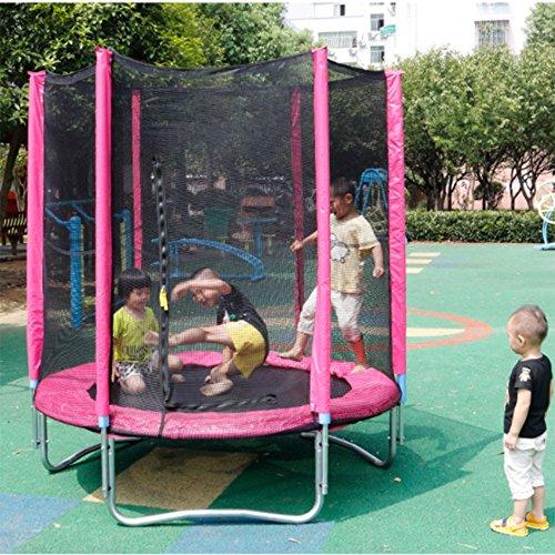 Wly&Home Tuinblad Leaps, Kindertrampoline, Volledige trampoline, Veiligheidsnet, Gevulde Netkolom En Rand Cover 180Cm In diameter, Rood