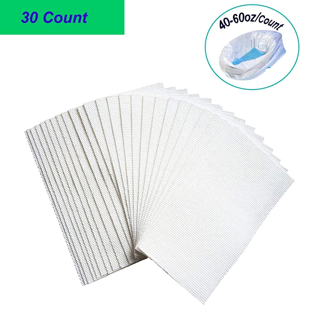 Super-Absorbent Pads for Commode Liners (40-60oz per Count), CuleedTec SAP Absorbency Commode Absorbent Pads for Bedside Commode Bags, Gelling Absorbent Pads, Liquid Absorber (30 Count)