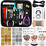 EuTengHao Jewelry Making Repair Supplies Kit with Jewelry Tools,Jewelry Findings,Jewelry Wires for Jewelry Repair and Beading Including Seed Pearl Beads Pliers Jump Ring Lobster Clasps Necklace Cord
