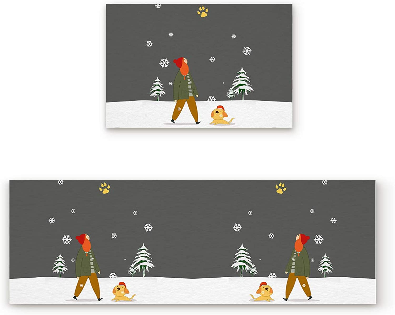 2 Piece Non-Slip Kitchen Mat Rubber Backing Doormat Runner Rug Set, Kids Area Rug Carpet Bedroom Rug Christmas Girl with her Puppy Dog Play on Xmas Tree Snowflake Grey Background 19.7x31.5in+19.7x63in