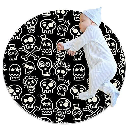 rdsworth Toby Sketchy Skull Herhaal Behang Grote baby tapijt, kleuterschool kinderen ronde warme zachte mat vloertapijt, antislip kinderen Peuter slaapkamer,27.6x27.6IN