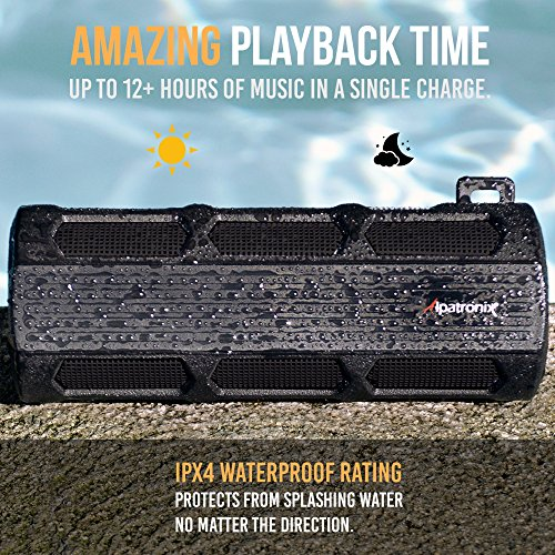 Alpatronix AX410 12 Watt Waterproof Bluetooth Speaker & Portable Rugged Shockproof Wireless Stereo with Mic, Subwoofer & Carabiner for Cyclists, Smartphones & Computers for Indoor Outdoor - Black