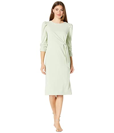 Tahari by ASL Stretch Crepe Side Wrap Dress with Puff Sleeve Detail