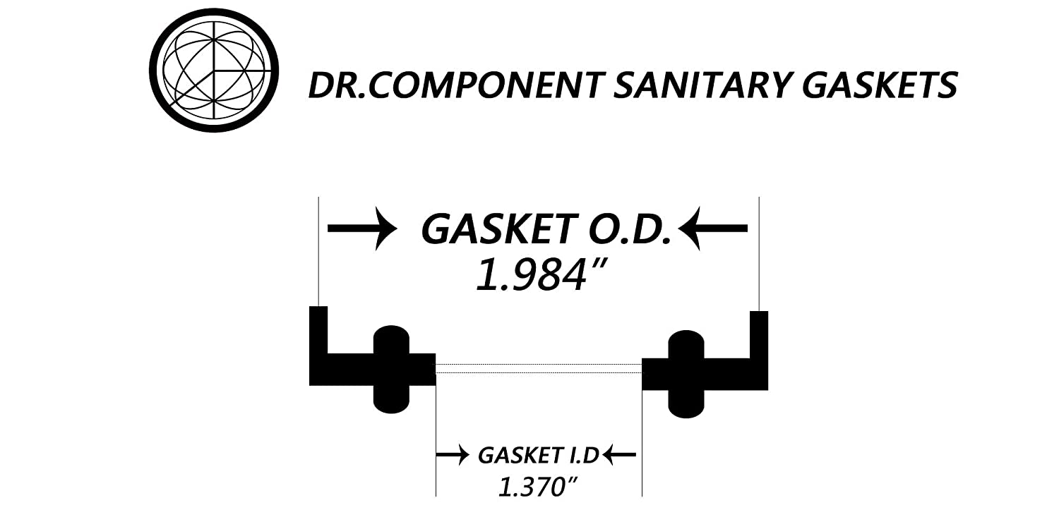 DR-COMPONENT 1.5 Sanitary Standard Type II Flanged Tri-Clamp Gaskets, Pack of 5 Black FKM-VITON