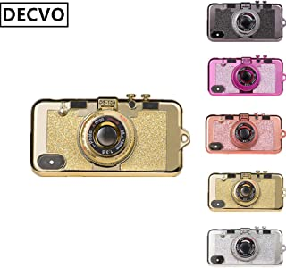 DECVO iPhone Xs Max case, New Modern 3D Cool Vintage Style Bling Camera Design Soft Case PC + Silicone Cover with A Mirror & Long Strap Rope for 6.5
