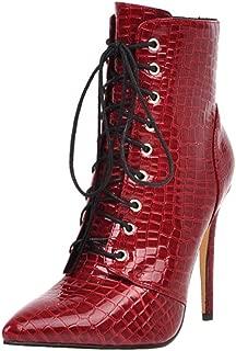 KemeKiss Women Fashion Short Booties Lace Up High Heels