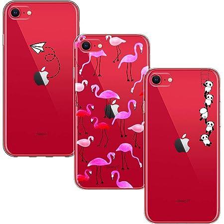 Yoowei [3-Pack] Cover per iPhone SE 2020 Trasparente con Disegni, Morbida Silicone Ultra Sottile TPU Gel Custodia, Aeroplano Fenicotteri Panda
