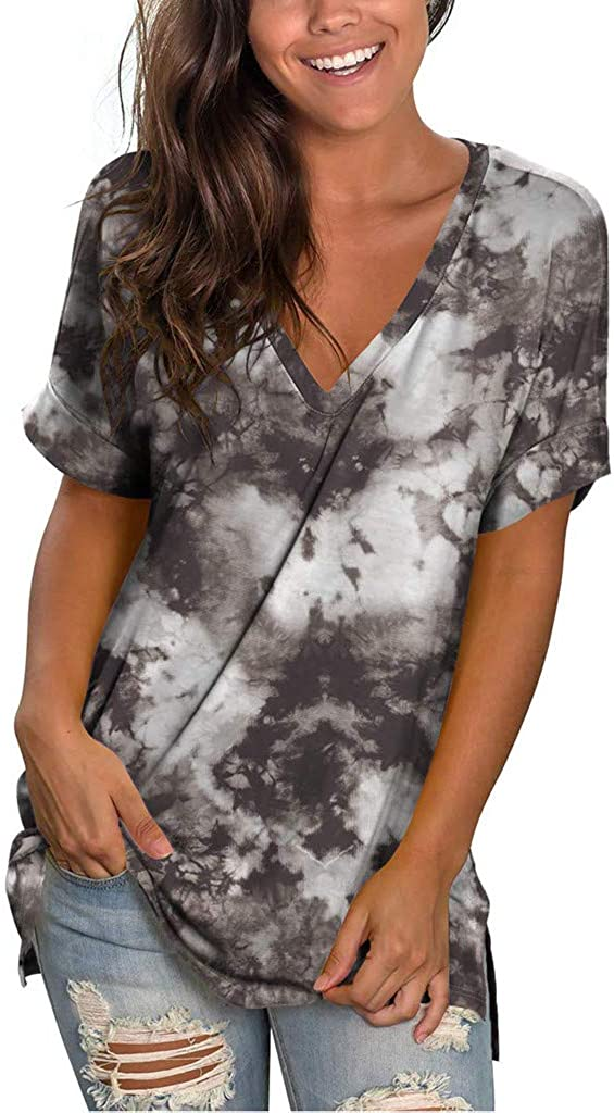 Women Summer Tops Gradient Floral Print V Neck Short Sleeve T-Shirts Casual Loose Fit Tunic Plus Size Tops Blouse