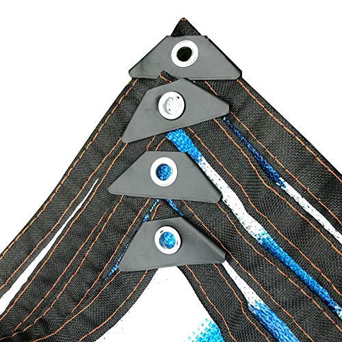 DJPB Lona multiusos sombra vela 70% UV Bloque solar telas azul y blanco rayas sombreado red aislamiento permeable toldo cubierta paño 4PB08 (tamaño: 3 x 5 m)
