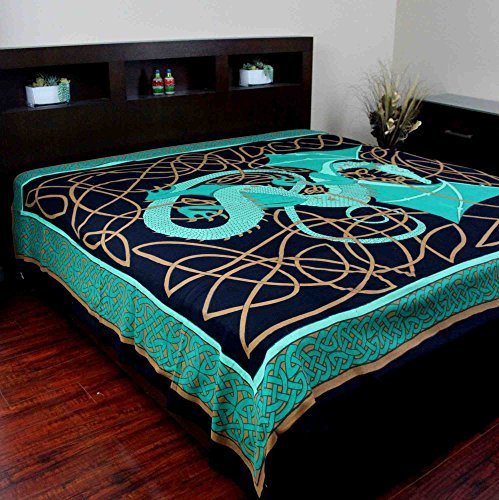 Handmade 100% Cotton Celtic Dragon Tapestry Bedspread Bed Sheet Beach Sheet Dorm Essential Tablecloth Spread 70x104 Twin Green