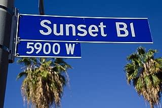 Sunset Boulevard Street Sign Los Angeles California Photo Photograph Cubicle Locker Mini Art Poster 12x8