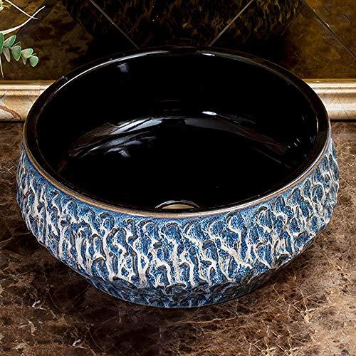 Cocina De Fregadero De Lavabo Negro Azul,Encimera De Cerámica De Esmalte Liso Creativo Redondo, Encimera De Arte Manual,Adecuado para El Hogar Lugares Públicos Baño