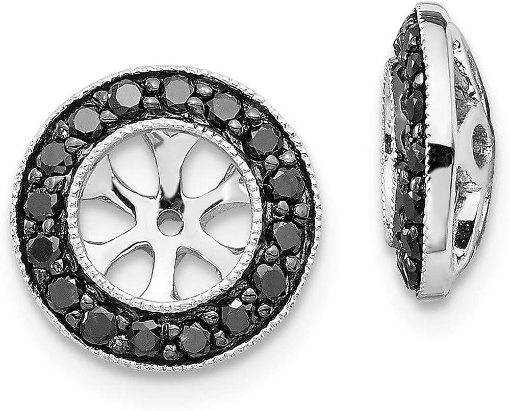 Solid 14k White Gold Black Diamond Earring Jackets 11mm (.288 cttw.)