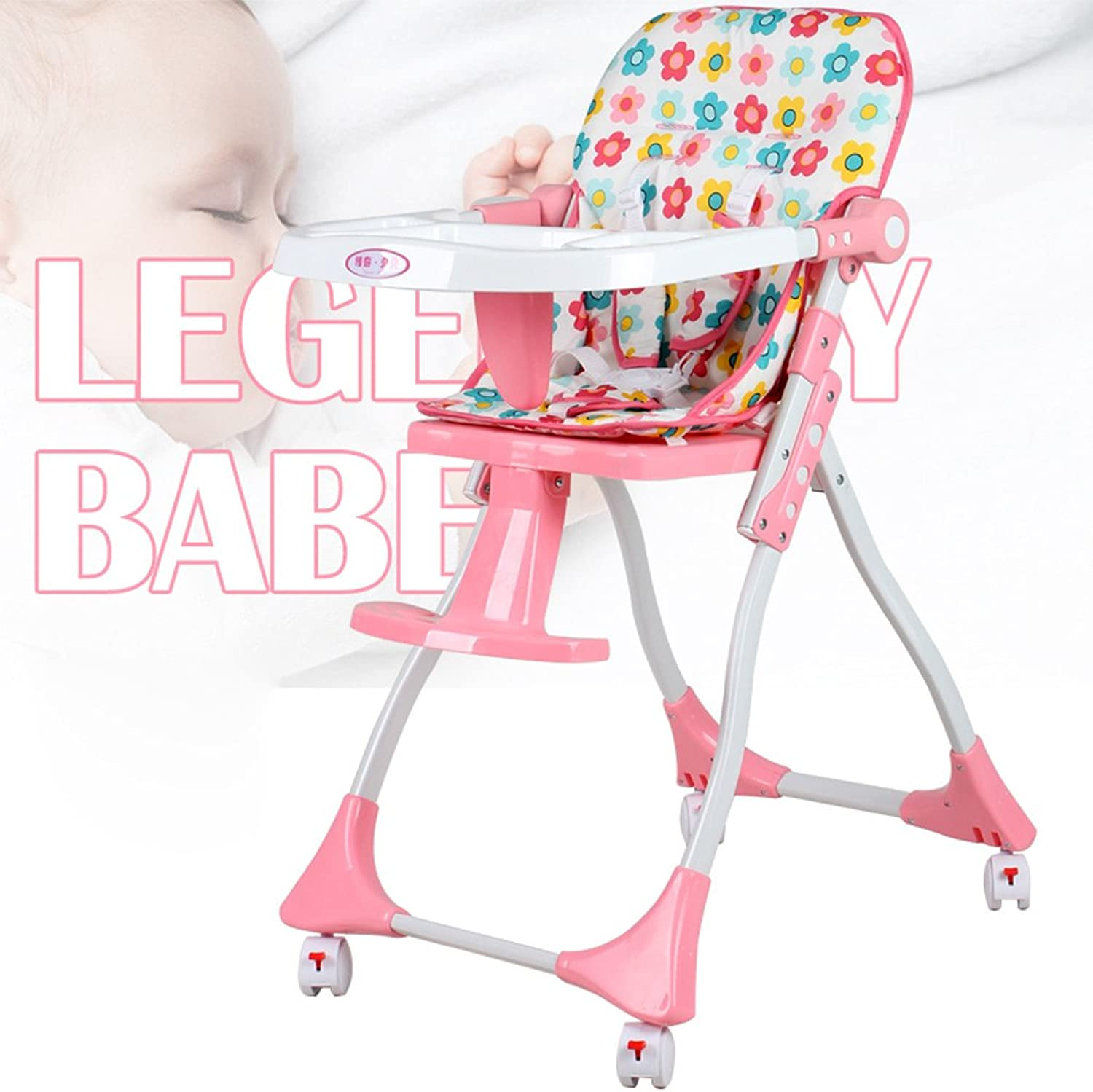 Portable Baby High Chair, Foldable Baby Feeding Pad, Plastic redating Baby Dining Chair, BB Multifunctional Dining Chair, L50  W63  H90cm