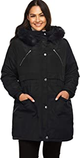 IN'VOLAND Women's Plus Size Winter Coats Parka Warm Drawstring Jackets with Hood Detachable Fur