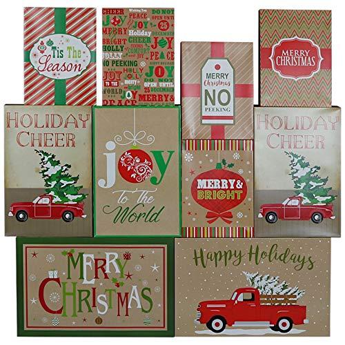 Iconikal Christmas Holiday Kraft Gift Boxes - 3 Sizes, 10-Pack